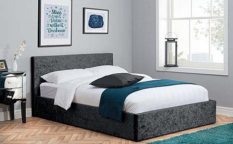 Berlin Black Crushed Velvet Ottoman King Size Bed