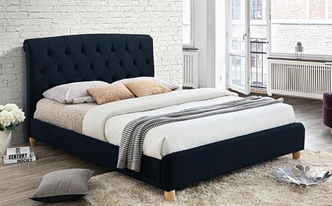 Brompton Midnight Blue Velvet Double Bed