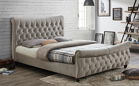 Copenhagen Warm Stone Fabric King Size Bed