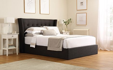 Kenley Slate Fabric Ottoman Storage Bed Double
