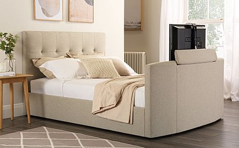 Langham Oatmeal Fabric TV Bed Double