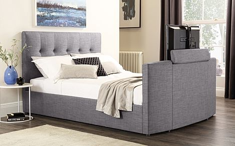 Langham Grey Fabric King Size TV Bed