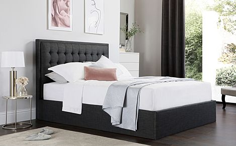 Lexington Slate Grey Fabric Ottoman King Size Bed