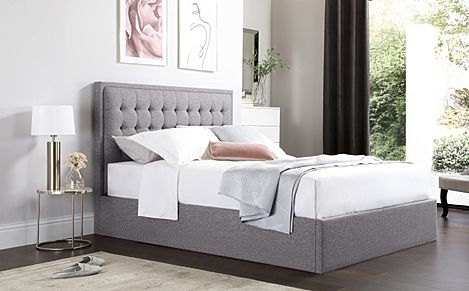Lexington Grey Fabric Ottoman Double Bed