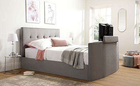 Langham Grey Velvet Ottoman Double TV Bed