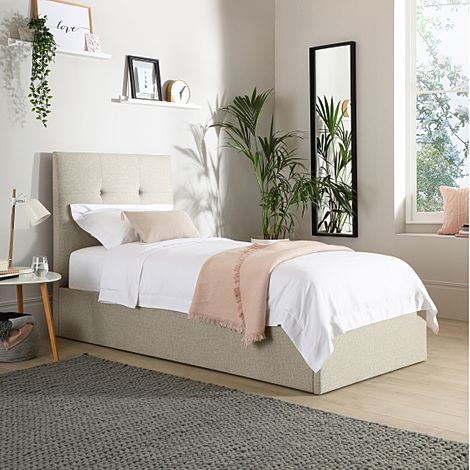 Caversham Oatmeal Fabric Ottoman Single Bed