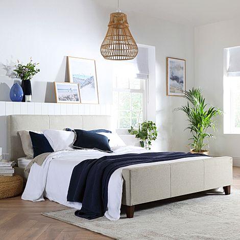 Caro Oatmeal Fabric King Size Bed
