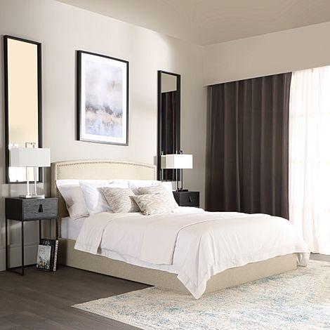 Eldon Oatmeal Fabric King Size Bed