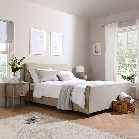 Fairmont Oatmeal Fabric Ottoman Double Bed