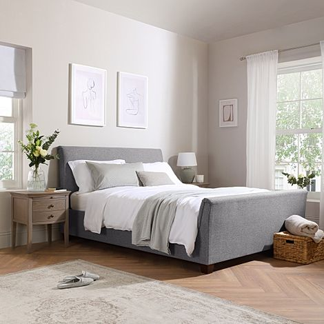 Fairmont Grey Fabric Ottoman King Size Bed