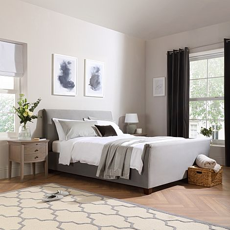 Fairmont Grey Velvet Ottoman Double Bed