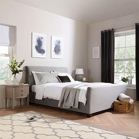 Fairmont Grey Velvet Ottoman King Size Bed