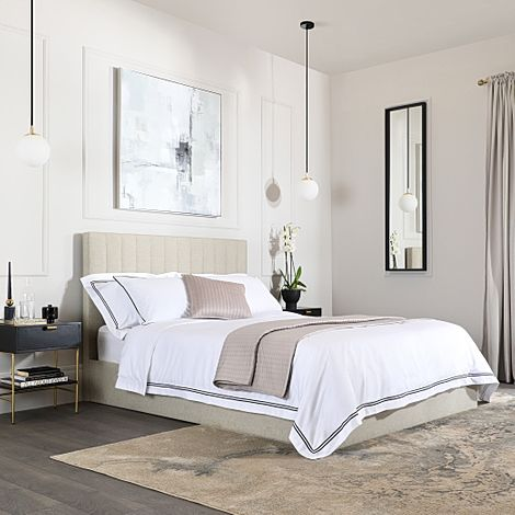 Astor Oatmeal Fabric King Size Bed