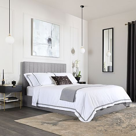 Astor Grey Fabric King Size Bed