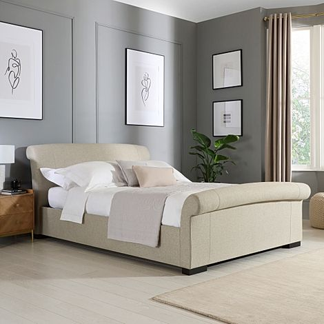 Buckingham Oatmeal Fabric Double Bed
