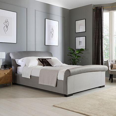 Buckingham Grey Velvet Ottoman King Size Bed