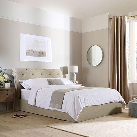 Alderley Oatmeal Fabric Double Bed