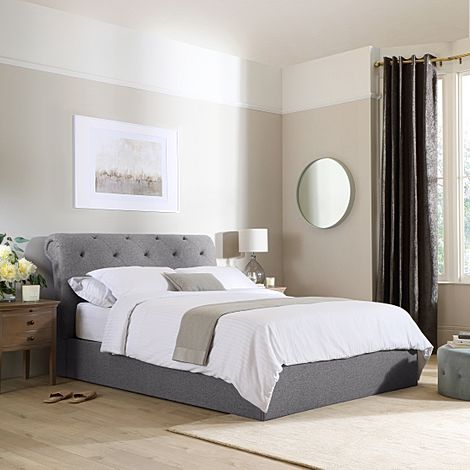 Alderley Grey Fabric Ottoman Double Bed
