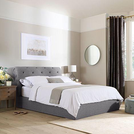 Alderley Grey Fabric Ottoman King Size Bed