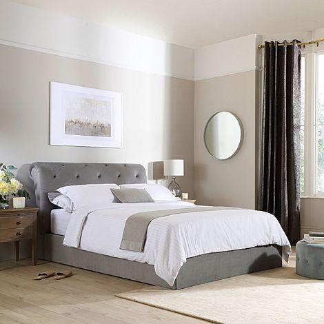 Alderley Grey Velvet Ottoman Double Bed