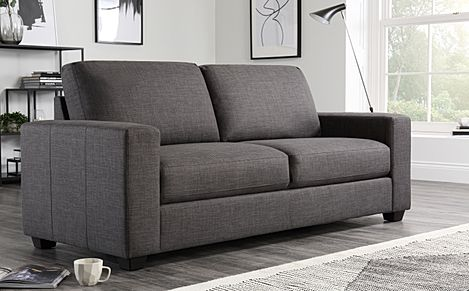 Mission Slate Grey Fabric 3 Seater Sofa