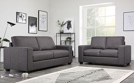 Mission Slate Grey Fabric 3+2 Seater Sofa Set