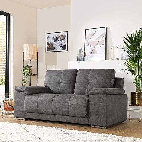 Kansas Slate Grey Fabric 2 Seater Sofa