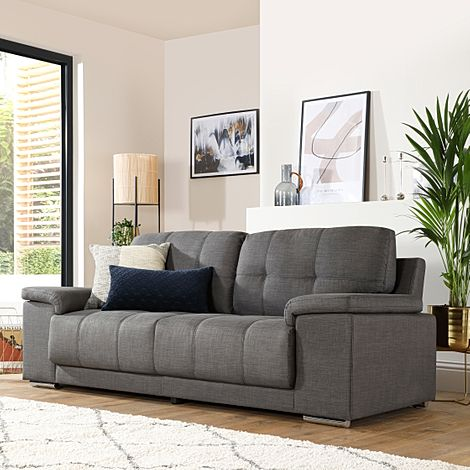 Kansas Slate Grey Fabric 3 Seater Sofa
