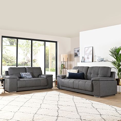 Kansas 3+2 Seater Fabric Sofa Suite - Slate Grey
