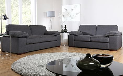 Cassie Charcoal Fabric 3+2 Seater Sofa Set