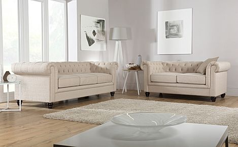 Hampton Fabric Chesterfield Sofa Suite 3+2 Seater (Oatmeal)