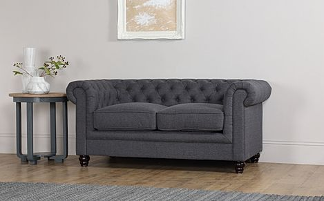 Hampton Slate Grey Fabric 2 Seater Chesterfield Sofa
