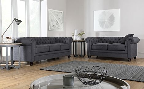 Hampton Slate Grey Fabric 3+2 Seater Chesterfield Sofa Set