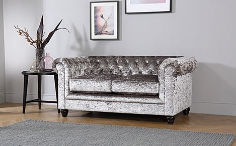 Hampton Silver Crushed Velvet 2 Seater Chesterfield Sofa