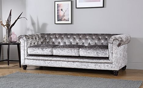 Hampton Silver Crushed Velvet 3 Seater Chesterfield Sofa