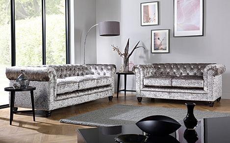 Hampton Silver Crushed Velvet 3+2 Seater Chesterfield Sofa Set