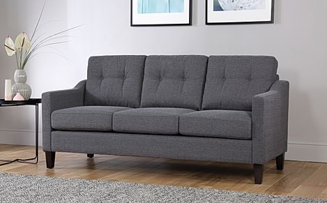 Hepburn Slate Fabric Sofa 3 Seater