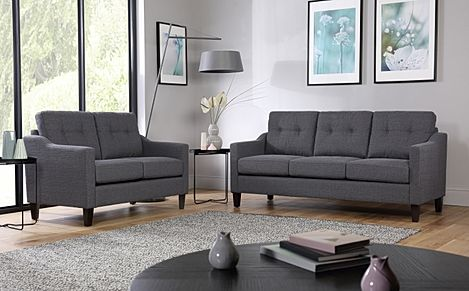 Hepburn Slate Fabric Sofa 3+2 Seater