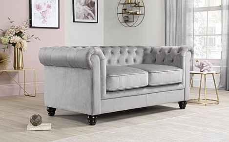 Hampton Grey Velvet Fabric Chesterfield Sofa 2 Seater