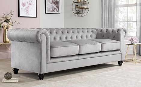 Hampton Grey Velvet Fabric Chesterfield Sofa 3 Seater
