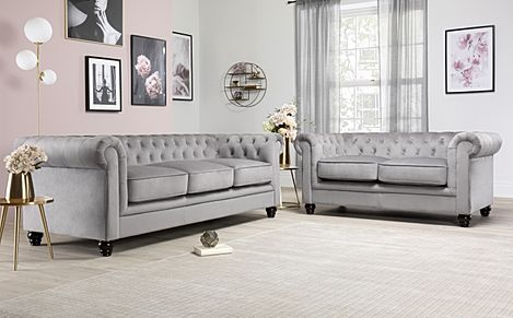 Hampton Grey Velvet Fabric Chesterfield Sofa 3+2 Seater