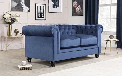 Hampton Blue Velvet Fabric Chesterfield Sofa 2 Seater
