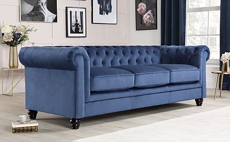 Hampton Blue Velvet Fabric Chesterfield Sofa 3 Seater