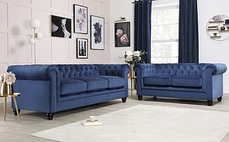 Hampton Blue Velvet Fabric Chesterfield Sofa 3+2 Seater