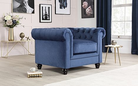 Hampton Blue Velvet Chesterfield Armchair