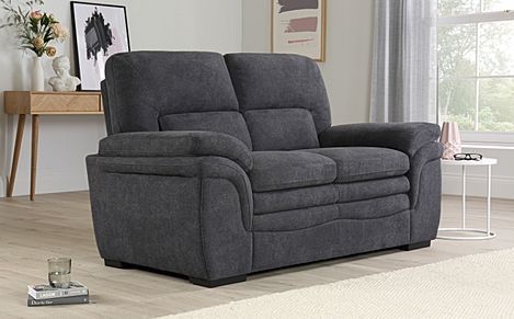 Sutton Slate Grey Plush Fabric 2 Seater Sofa