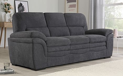 Sutton Slate Grey Plush Fabric Sofa 3 Seater