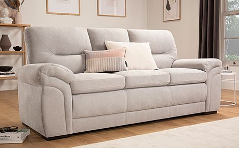 Bromley Dove Grey Plush Fabric Sofa 3 Seater