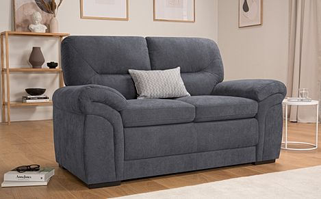 Bromley Slate Grey Plush Fabric 2 Seater Sofa