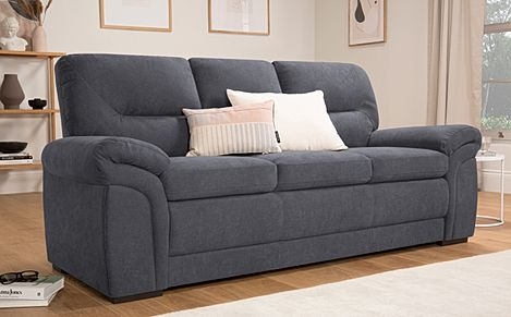 Bromley Slate Grey Plush Fabric Sofa 3 Seater